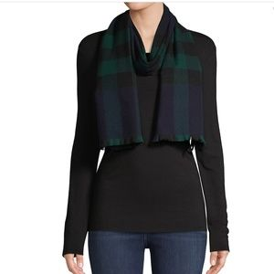 NWT Burberry Plaid Wool & Cashmere-Blend Scarf!